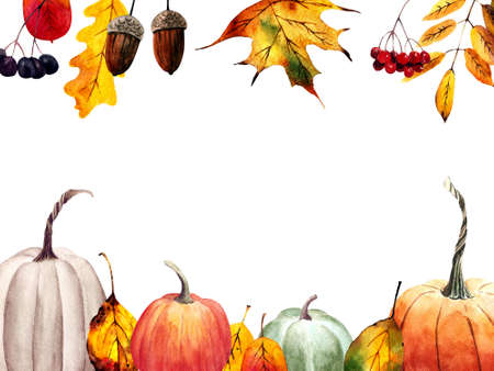 Autumn card with pumpkins, leaves, berries, acorns on white background. Watercolor illustration