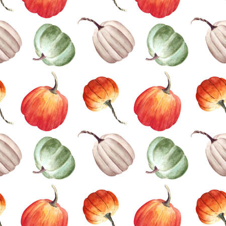 Seamless pattern with pumkins on white background. Watercolor illustration. Zdjęcie Seryjne