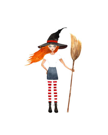 Witch with broom on white background. Watercolor illustration