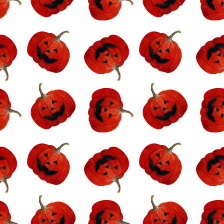 Hallowen seamless pattern with pumpkin on white background. Watercolor illustration