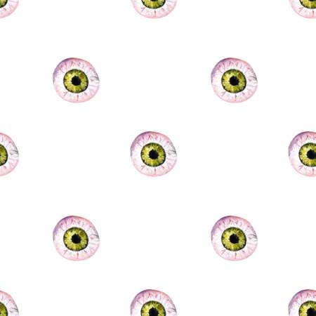 Hallowen seamless pattern with eyes . Watercolor illustration