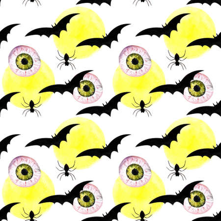 Hallowen seamless pattern with flying bats, moon, spider. Watercolor illustration