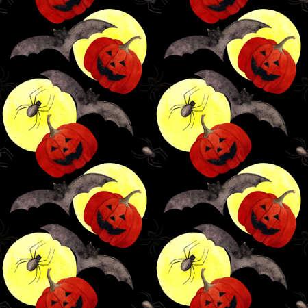 Hallowen seamless pattern with flying bats, moon, pumpkin on black background. Watercolor illustration