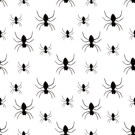 Hallowen seamless pattern with spiders on white background. Watercolor illustration