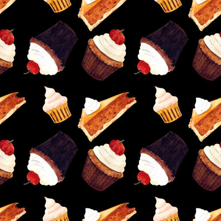 Seamless pattern with muffin and cupcake on black background. Watercolor illustration 写真素材
