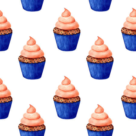 Seamless pattern with cupcake on white background. Watercolor illustration