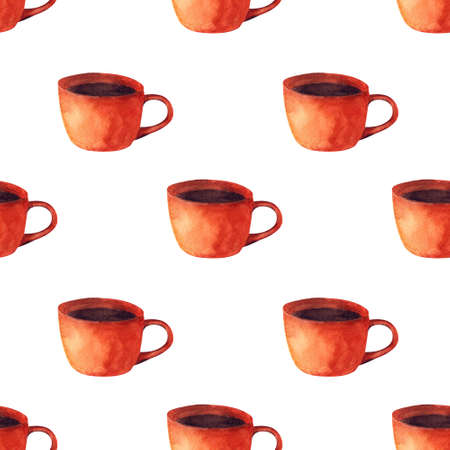 Seamless pattern with cup on white background. Pumpkin drink. Watercolor illustration.
