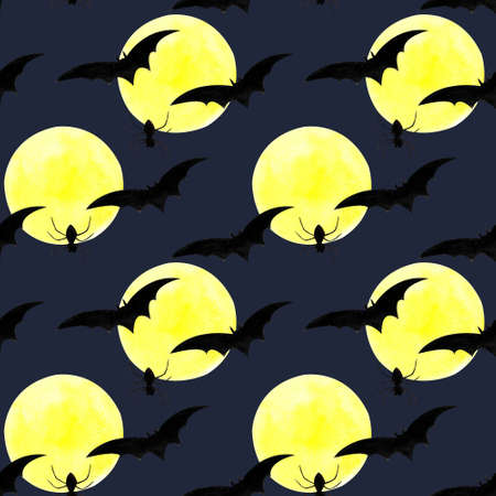Hallowen seamless pattern with flying bats, moon, spider on dark blue background. Watercolor illustration 写真素材
