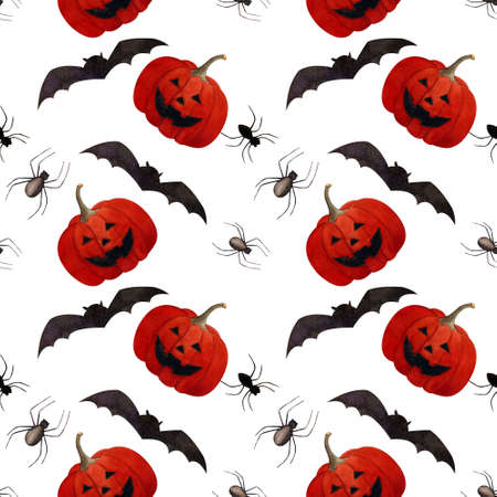 Hallowen seamless pattern with flying bats, pumpkin and spiders on white background. Watercolor illustration