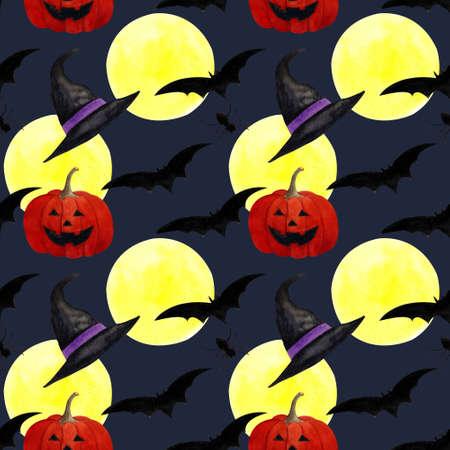 Hallowen seamless pattern with flying bats, moon, pumpkin on dark blue background. Watercolor illustration