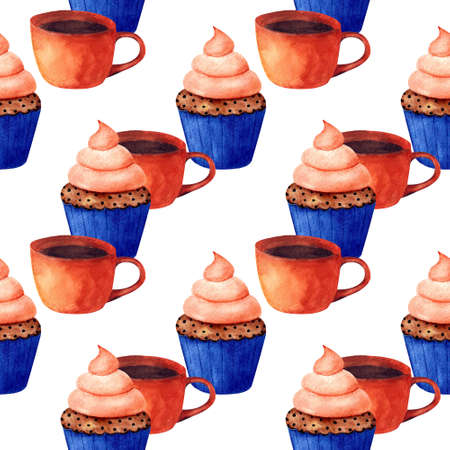 Seamless pattern with cup and cupcake on white background. Watercolor illustration