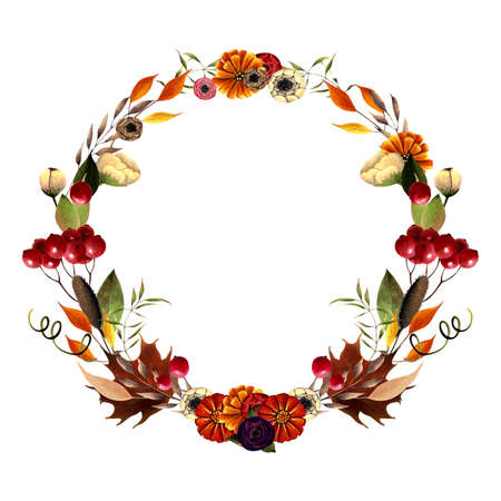 Autumn wreath with flowers, leaves, herbs, berries on white background. Hand drawn Illustration 写真素材