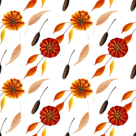 Seamless pattern with yellow flowers and autumn leaves on white background. Hadn drawn illustration.
