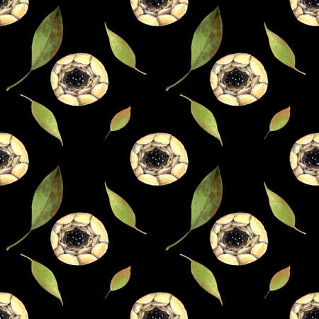 Seamless pattern with white flowers on black background. Hadn drawn illustration.
