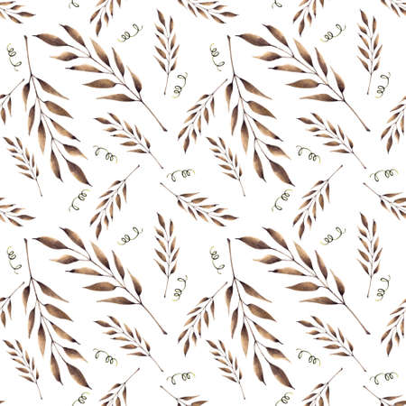 Seamless pattern with brown leaves on white background. Hadn drawn illustration.