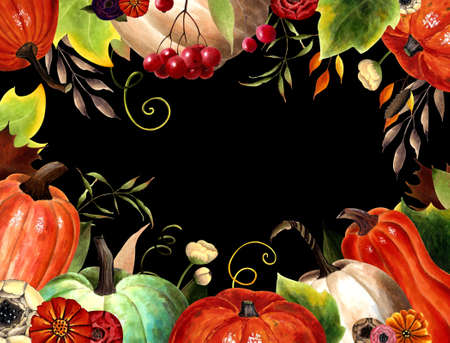 Autumn card with pumpkins, flowers, leaves, berries on black background. Hand drawn illustration
