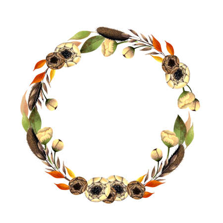 Autumn wreath with flowers, leaves, herbs on white background. Hand drawn Illustration 写真素材