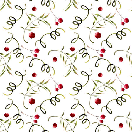 Seamless pattern with herbs, leaves and berries on white background. Hadn drawn illustration.