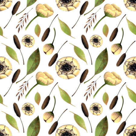 Seamless pattern with white flowers, herbs, leaves on white background. Hadn drawn illustration.
