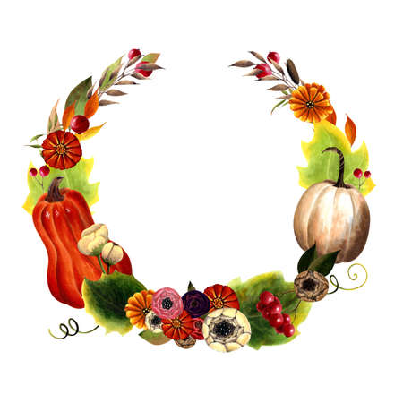 Autumn wreath with pumpkins, flowers, leaves, herbs, berries on white background. Hand drawn Illustration 写真素材