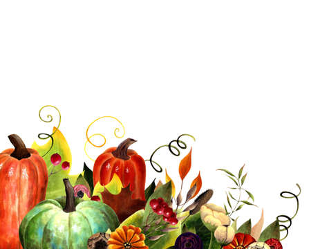 Autumn card with pumpkins, flowers, leaves, berries on white background. Hand drawn illustration