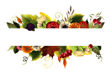 Autumn frame with flowers, leaves, berries on white background. Hand drawn illustration.