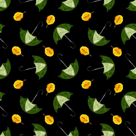 Seamless pattern with greeb umbellas and yellow leaves on black background. Watercolor illustration