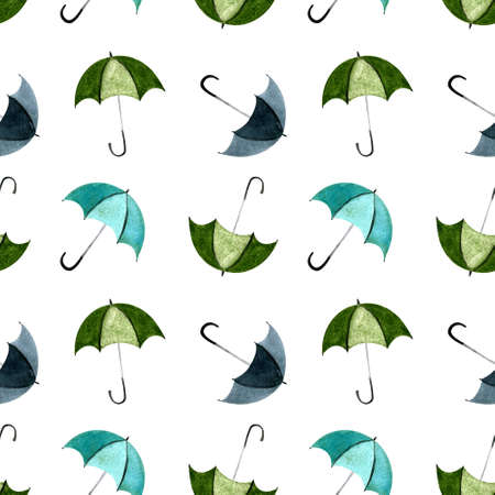 Seamless pattern with umbellas on white background. Watercolor illustration