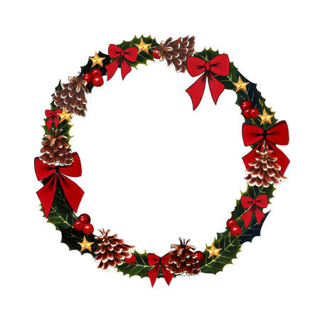 Christmas wreath with holly leaves, berry and bow on a white background. Hand drawn illustration