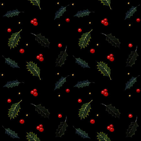 Seamless pattern with holly leaves and berries on black background. Drawing markers