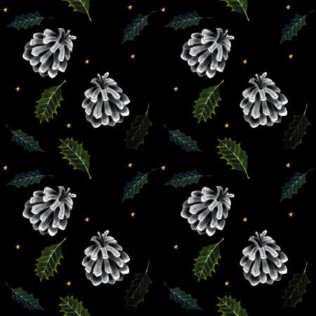 Seamless pattern with holly leaves and cone on black background. Drawing markers