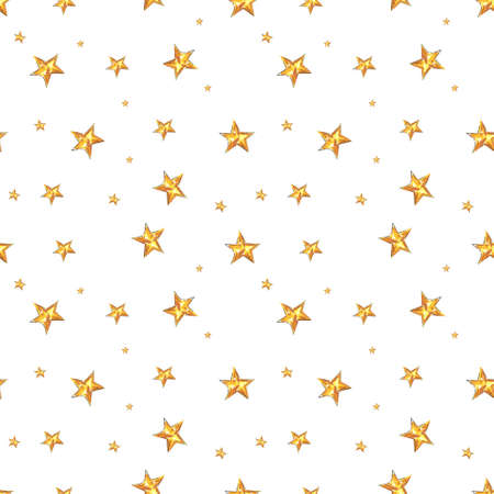 Christmas seamless pattern with gold stars. Drawing markers 写真素材