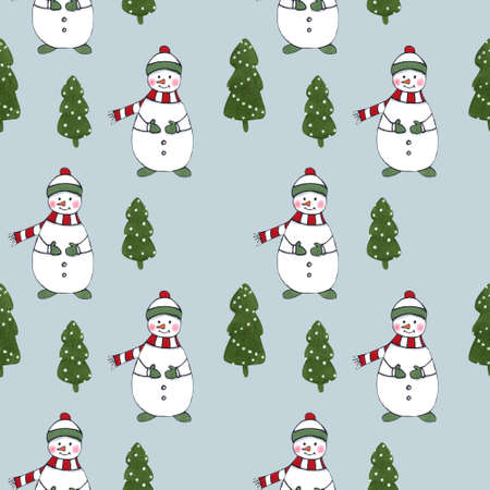 Christmas seamless pattern with firs and snowman on blue background. Christmas illustration.