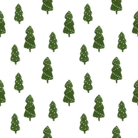 Christmas seamless pattern with firs on white background. Christmas illustration.