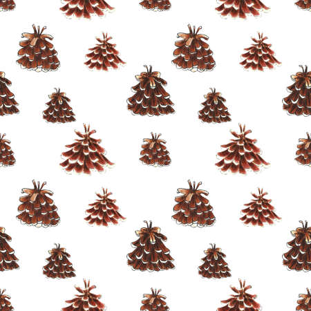 Seamless pattern with pine cones. Hand draw illustration 写真素材