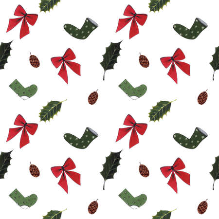 Seamless pattern with red bow,socks, holly leaves on white background. Drawing markers