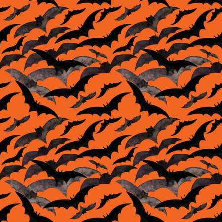 Hallowen seamless pattern with flying bats. Background for print, fabric and printing, wrapping paper. Watercolor 写真素材