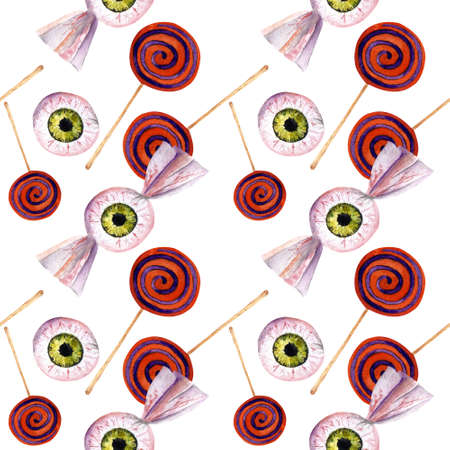 Hallowen seamless pattern with eyes and candy . Watercolor illustration