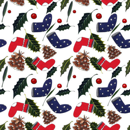 Seamless pattern with christmas socks, holly leaves on white background. Drawing markers