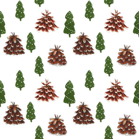 Christmas seamless pattern with firs and cones on white background. Christmas illustration. 写真素材