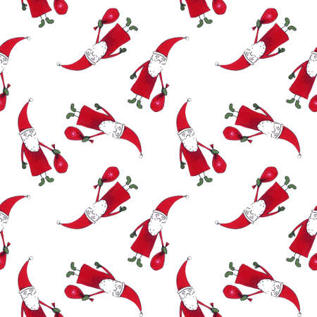 Christmas seamless pattern with Santa Claus. Drawing markers