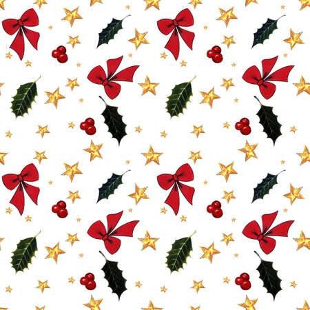 Seamless pattern with red bow, stars, holly leaves on white background. Drawing markers