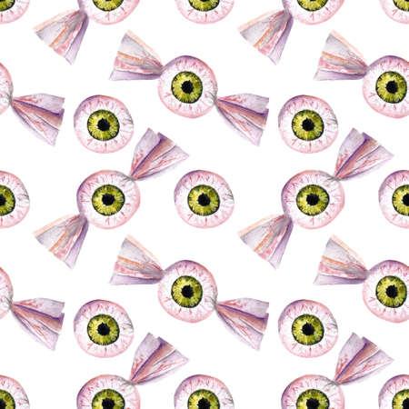Hallowen seamless pattern with eyes. Watercolor illustration