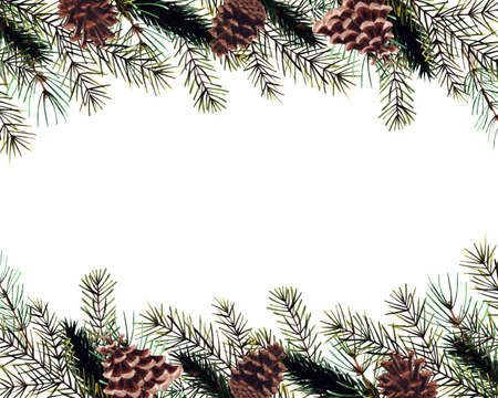 Watercolor christmas template with cones, pine branches. Hand drawn illustration Foto de archivo