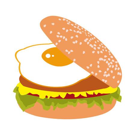 fried egg: Burger with fried egg