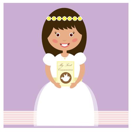 My First Communion - Girl Illustration