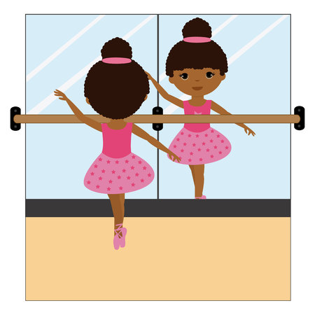 Ballerina in front of a mirror icon. Illustration