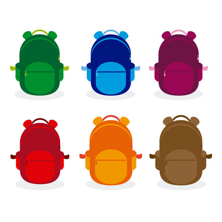 answering: School backpack set icon.