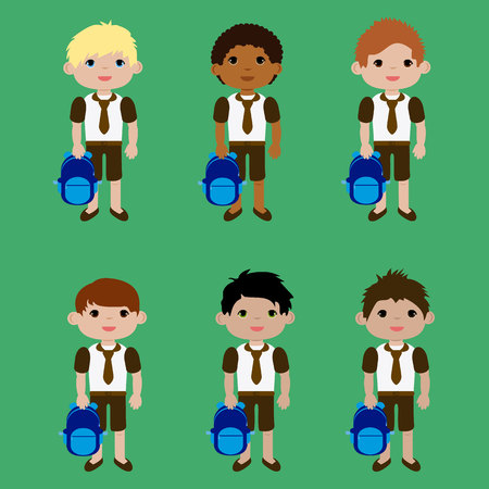answering: Set boys in school uniform and backpack icon.