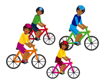 African Family Riding a Bicycle on white background. Illustration